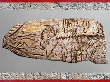 D'après une pendeloque, bison et silhouettes, os gravé, 18 000 -10 000 ans avjc,  Dordogne, magdalénien, paléolithique supérieur. (Marsailly/Blogostelle)