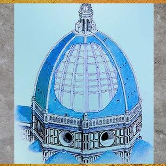 D'après la double coupole de Philippo Brunelleschi, schéma, Santa Maria del Fiore, 1421-1436, Florence, XVe siècle, Quattrocento, Renaissance italienne. (Marsailly/Blogostelle)