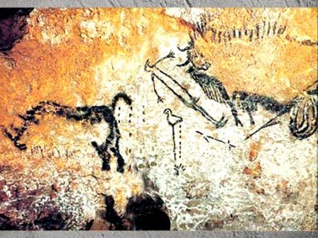 D'après la scène du puits, grotte de Lascaux, vers 18 000 ans avjc, Magdalénien, Dordogne, France, paléolithique supérieur. (Marsailly/Blogostelle)