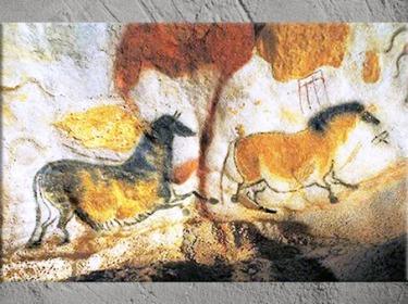 D'après des chevaux, comme en apesanteur, grotte de Lascaux, vers 18 000 -10 000 avjc, magdalénien, Dordogne, paléolithique supérieur. (Marsailly/Blogostelle)