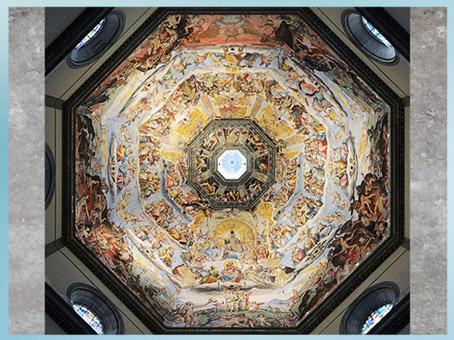 D'après la fresque du Jugement Dernier, coupole de Santa Maria del Fiore, de Giorgio Vasari, 1572-1574, puis Federico Zuccari, 1574- 1579, Florence,  XVIe siècle, Cinquecento, Renaissance italienne. (Marsailly/Blogostelle)