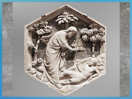 D'après La Création d'Adam, Andrea pisano, reliefs du campanile de Giotto, Santa Maria del Fiore, Florence, XIVe siècle, Trecento italien. (Marsailly/Blogostelle)