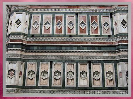 D'après les reliefs en losanges et hexagones campanile de Giotto, soubassement, Santa Maria del Fiore, 1334, Florence, XIVe siècle, Trecento italien. (Marsailly/Blogostelle)