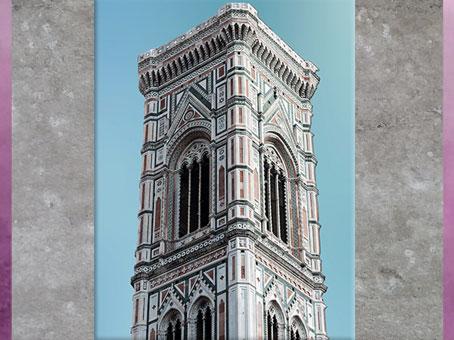 D'après le campanile de Santa Maria del Fiore, conçu par Giotto, 1334, Florence, XIVe siècle, Trecento italien. (Marsailly/Blogostelle)