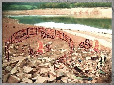 D'après un campement paléolithique, préhistoire. (Marsailly/Blogostelle)