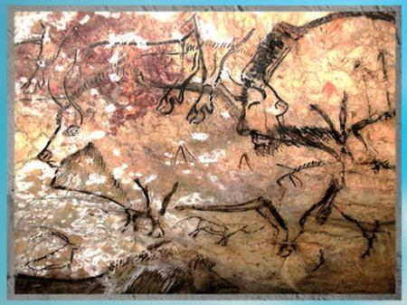D'après le thème de la chasse, bison, taureau et flèches, grotte de Niaux, vers 14 000 -12000 avjc, Magdalénien, Ariège, France, paléolithique supérieur. (Marsailly/Blogostelle)