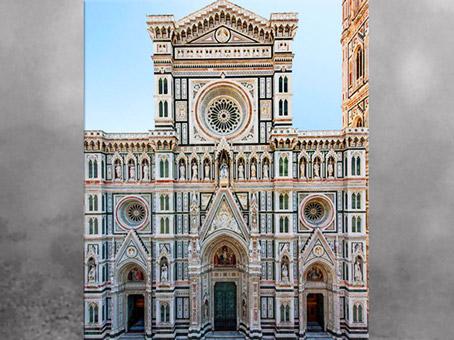 D'après la façade de Santa Maria del Fiore, redessinée par Emilio de Fabris, 1871-1887, marbres colorés, XIXe siècle, Florence. (Marsailly/Blogostelle)