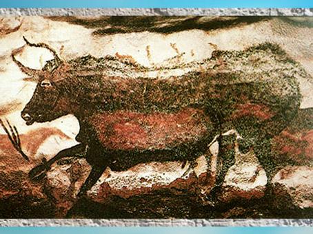 D'après un taureau, grotte de Lascaux, peinture, vers 18 000 avjc, Magdalénien, Dordogne, France, paléolithique supérieur. (Marsailly/Blogostelle)