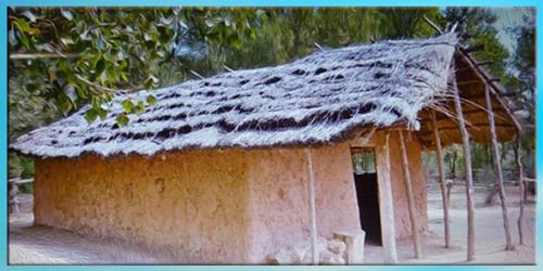 D'après une reconstitution, maison pourvue d'un auvent, culture du rubané, style danubien, néolithique. (Marsailly/Blogostelle)