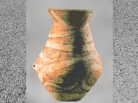 D'après une poterie à décor peint, terre cuite, Balkans, néolithique. (Marsailly/Blogostelle)