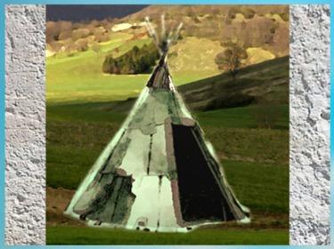 D'après une tente-tipi sur le modèle magdalénien, peaux et bois,  paléolithique supérieur. (Marsailly/Blogostelle)