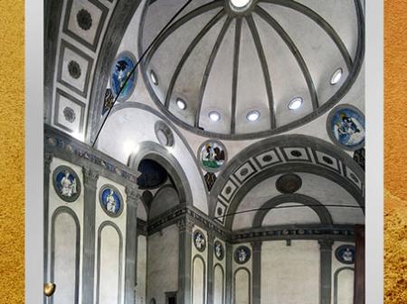 D'après la chapelle Pazzi de Santa Croce, Filippo Brunelleschi, intérieur, vers 1430, Florence, XVe siècle, Quattrocento, Renaissance italienne. (Marsailly/Blogostelle)