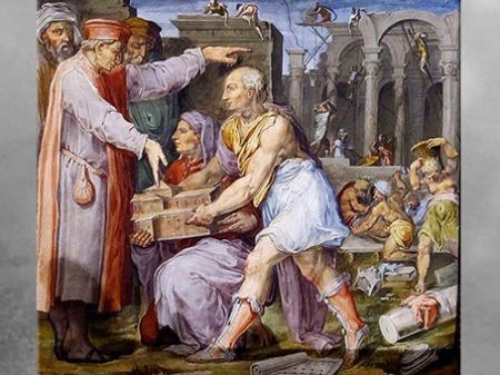 D'après Brunelleschi et Ghiberti montrant la maquette de San Lorenzo à Cosme de Médicis, fresques de Giorgio Vasari et Marco di Faenza, vers 1560, Palazzo Vecchio, XVIe siècle, Cinquecento, Renaissance italienne. (Marsailly/Blogostelle)