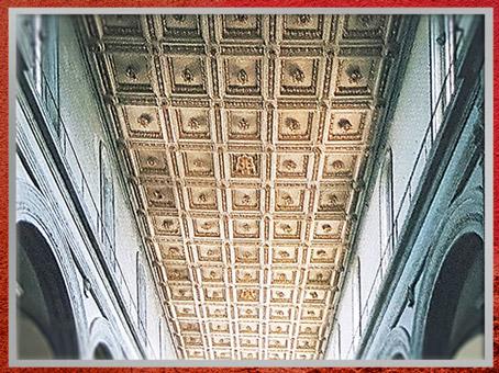 D'après l'église San Lorenzo, reconstruction de Filippo Brunelleschi, plafond à caissons, 1419, Florence, XVe siècle, Quattrocento, Renaissance italienne. (Marsailly/Blogostelle)