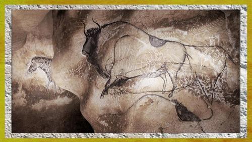 D'après un grand bison, grotte Chauvet, peintures rupestres, Pont d'Arc, Ardèche, vers 36 000 ans avjc, Aurignacien, France, paléolithique supérieur. (Marsailly/Blogostelle)