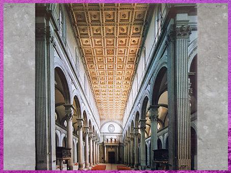 D'après l'église San Lorenzo, reconstruction de Filippo Brunelleschi, 1419, Florence, XVe siècle, Quattrocento, Renaissance italienne. (Marsailly/Blogostelle)