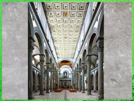 D'après l'église San Lorenzo, reconstruction de Filippo Brunelleschi, nef, 1419, Florence, XVe siècle, Quattrocento, Renaissance italienne. (Marsailly/Blogostelle)