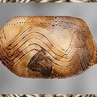 D'après une poterie, terre cuite à décor rubané incisé, style danubien, néolithique. (Marsailly/Blogostelle)