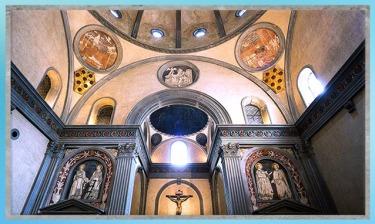 D'après la Vieille sacristie San Lorenzo, chapelle Médicis, détail, Filippo Brunelleschi, 1420-1428, XVe siècle, Florence, Quattrocento, Renaissance italienne. (Marsailly/Blogostelle)