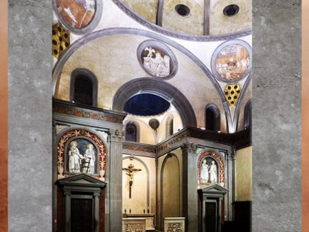 D'après la Vieille sacristie, San Lorenzo, chapelle Médicis, Filippo Brunelleschi, 1420-1428, XVe siècle, Florence, Quattrocento, Renaissance italienne. (Marsailly/Blogostelle)
