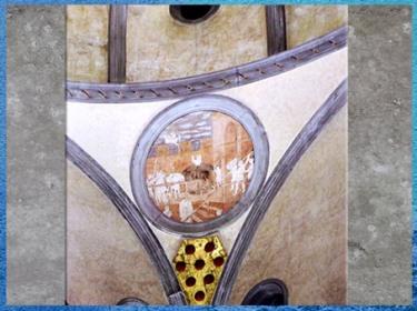 D'après la Vieille sacristie, église San Lorenzo, écusson des Médicis, architecte Brunelleschi, 1420-1428, Florence, Quattrocento, Renaissance italienne. (Marsailly/Blogostelle)