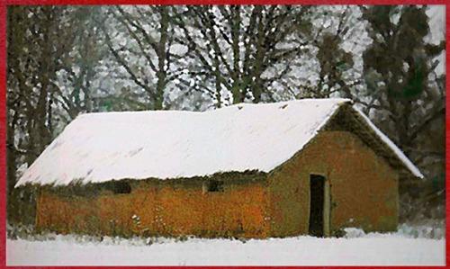 D'après une reconstitution, grande maison danubienne, torchis et poteaux en bois, néolithique. (Marsailly/Blogostelle)