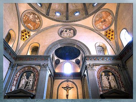 D'après Vieille sacristie, San Lorenzo, chapelle Médicis, Filippo Brunelleschi, 1420-1428, Florence, Quattrocento, Renaissance italienne. (Marsailly/Blogostelle)