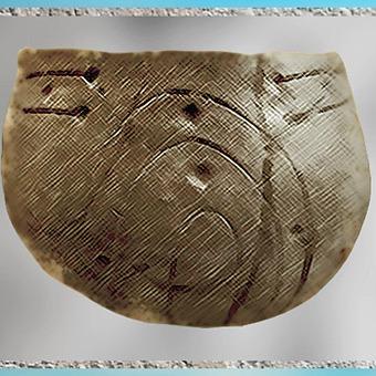 D'après une poterie, décor incisé, vagues, céramique rubanée, terre cuite, néolithique. (Marsailly/Blogostelle)