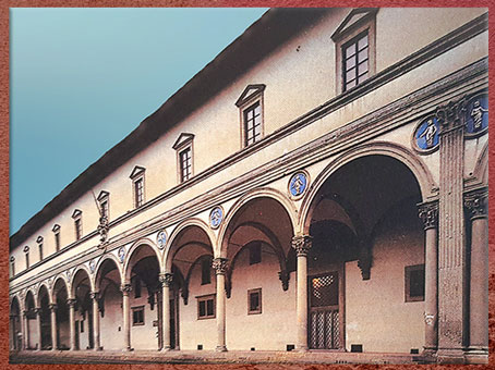D'après l'Hôpital des Innocents, arcades, Filippo Brunelleschi, 1419-1428, Florence, XVe siècle, Quattrocento, Renaissance italienne. (Marsailly/Blogostelle)