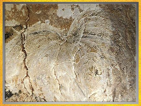 D'après l'image probable d'une éruption volcanique, grotte Chauvet, aurignacien, vers 36 000 ans avjc, France, paléolithique supérieur. (Marsailly/Blogostelle)