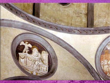 D'après la Vieille sacristie San Lorenzo, détail, soulignements en pietra serena, chapelle Médicis, Filippo Brunelleschi, 1420-1428, Florence, Quattrocento, Renaissance italienne. (Marsailly/Blogostelle)