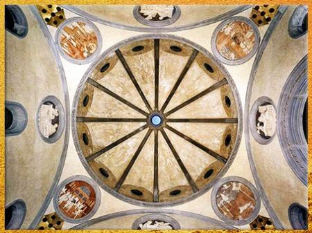 D'après la Vieille sacristie, San Lorenzo, coupole de Brunelleschi, stucs polychromes de Donatello, vers 1435, XVe siècle, Florence, Quattrocento, Renaissance italienne. (Marsailly/Blogostelle)