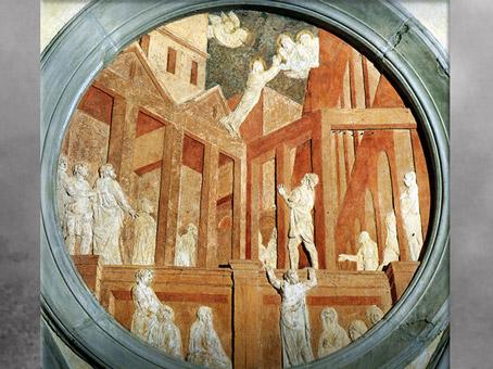 D'après un tondo en stuc, de Donatello, L'Ascension de saint Jean, vers 1435, pendentif coupole de la Vieille sacristie San Lorenzo, XVe siècle, Florence, Quattrocento, Renaissance italienne. (Marsailly/Blogostelle)