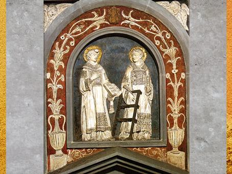 D'après les saints Stefano et Lorenzo, Donatello, 1434-1443, Vieille sacristie San Lorenzo, Florence, Quattrocento, Renaissance italienne. (Marsailly/Blogostelle)