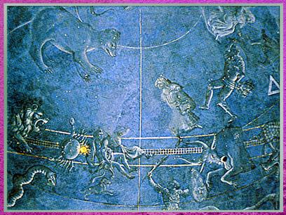 D'après la voûte astronomique, attribuée à Giuliano Pesello, coupole de la Vieille sacristie, San Lorenzo, chapelle Médicis, XVe siècle, Florence, Quattrocento, Renaissance italienne. (Marsailly/Blogostelle)