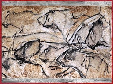 D'après des lions, peinture rupestre, grotte Chauvet, vers 36 000 avjc, Pont d'Arc, Ardèche, aurignacien, paléolithique supérieur. (Marsailly/Blogostelle)