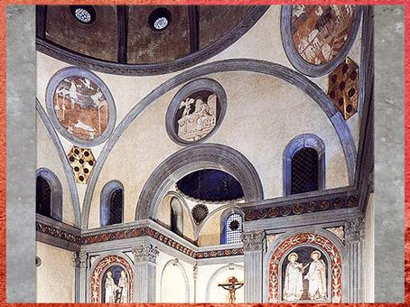 D'après Vieille sacristie San Lorenzo, sanctuaire et coupole, chapelle Médicis, Filippo Brunelleschi, 1420-1428, Florence, Quattrocento, Renaissance italienne. (Marsailly/Blogostelle)