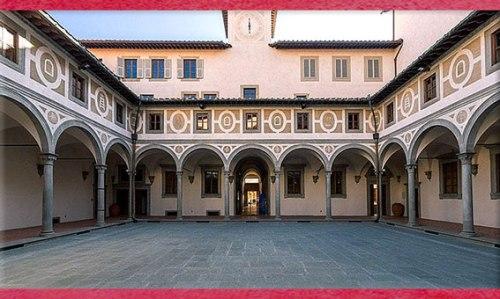 D'après l'Hôpital des Innocents, Filippo Brunelleschi, cloître des hommes, 1419-1428, Florence, XVe siècle, Quattrocento, Renaissance italienne. (Marsailly/Blogostelle)