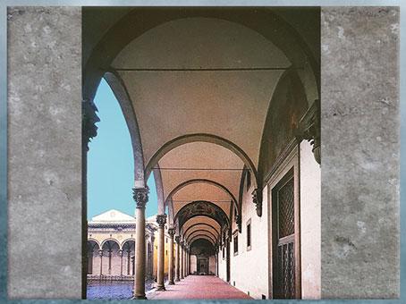 D'après l'Hôpital des Innocents, loggia, Filippo Brunelleschi, 1419-1428, Florence, XVe siècle, Quattrocento, Renaissance italienne. (Marsailly/Blogostelle)