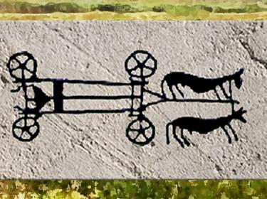 D'après un motif de poterie, attelage de bovidés, néolithique. (Marsailly/Blogostelle)