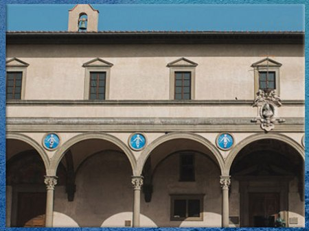 D'après l'Hôpital des Innocents, façade, Filippo Brunelleschi, 1419-1428, Florence, XVe siècle, Quattrocento, Renaissance italienne. (Marsailly/Blogostelle)