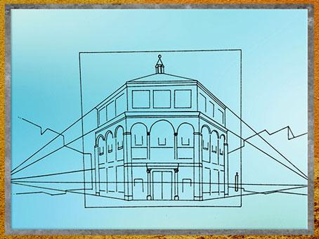 D'après une étude de Filippo Brunelleschi,  perspective du baptistère médiéval de Santa Maria del Fiore, Florence, Renaissance italienne. (Marsailly/Blogostelle)