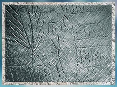 D'après une céramique à décor incisé, motifs de cerfs et pictogrammes, terre cuite, détail, Espagne, néolithique. (Marsailly/Blogostelle)