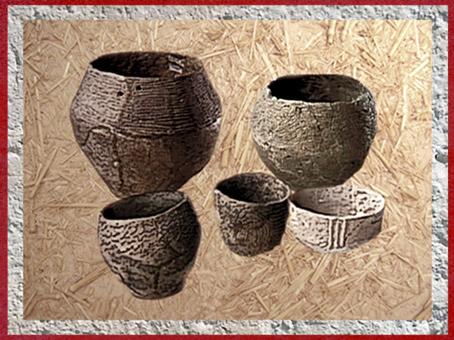 D'après des poteries, à décor incisé, terre cuite, vaisselle, IIIe millénaire avjc, néolithique. (Marsailly/Blogostelle)