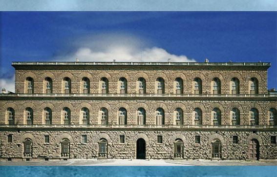 D'après le palazzo Pitti, plans de Brunelleschi, construction Luca Fancelli, Florence, XVe siècle, Quattrocento, Renaissance italienne. (Marsailly/Blogostelle)