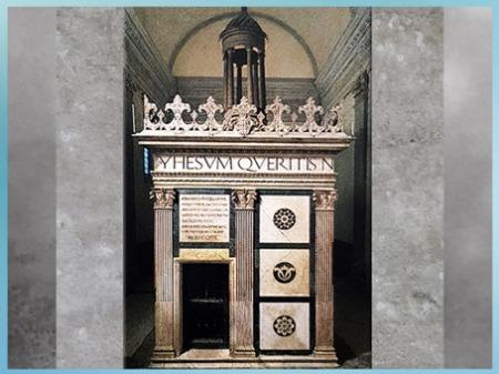 D'après la chapelle Rucellai, Tempietto del Sepolcro, San Pancrazio, Léon Battista Alberti, 1467, Florence, Quattrocento, Renaissance italienne. (Marsailly/Blogostelle)
