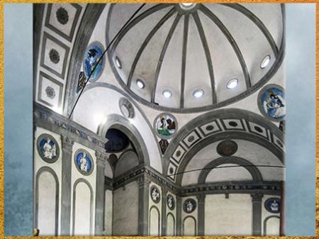 D'après la chapelle des Pazzi, intérieur, Santa Croce, Brunelleschi, Florence, XVe siècle, Quattrocento, Renaissance italienne. (Marsailly/Blogostelle)