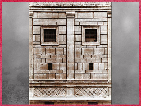 D'après le palais Rucellai, plans de Léon Battista Alberti, 1446, opus vermiculatum, construction Bernardo Rossellino, 1446 -1451, Florence, Quattrocento, Renaissance italienne. (Marsailly/Blogostelle)
