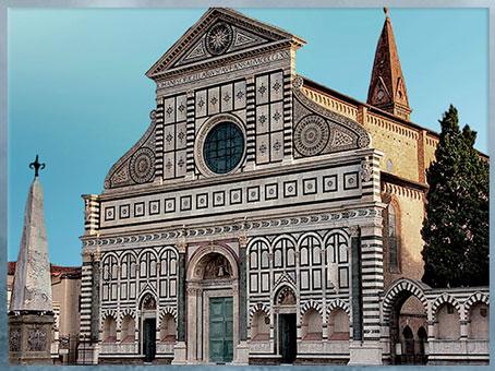 D'après l'église Santa Maria Novella, façade, Leon Battista Alberti, 1458-1470, Florence, XVe siècle, Quattrocento, Renaissance italienne. (Marsailly/Blogostelle)