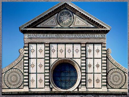D'après l'église Santa Maria Novella, fronton, Leon Battista Alberti, 1458-1470, Florence, XVe siècle, Quattrocento, Renaissance italienne. (Marsailly/Blogostelle)